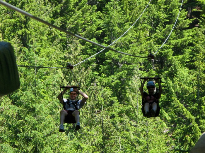 Ziplining at Cougar Mountain, just north of Whistler.