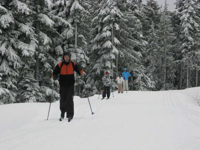 There are 13 kilometres of groomed trails for cross-country skiers on Dakota Ridge, yet another Sunshine Coast playground.