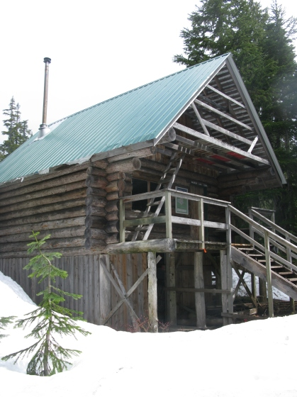 Bachelor Cabin, the closest of the four cabins to the trail head.