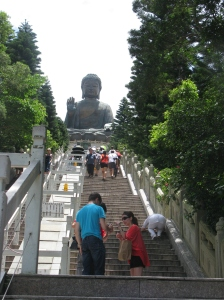 Take it one step at a time to the base of Tian Tan Buddha, otherwise known as the Big Buddha