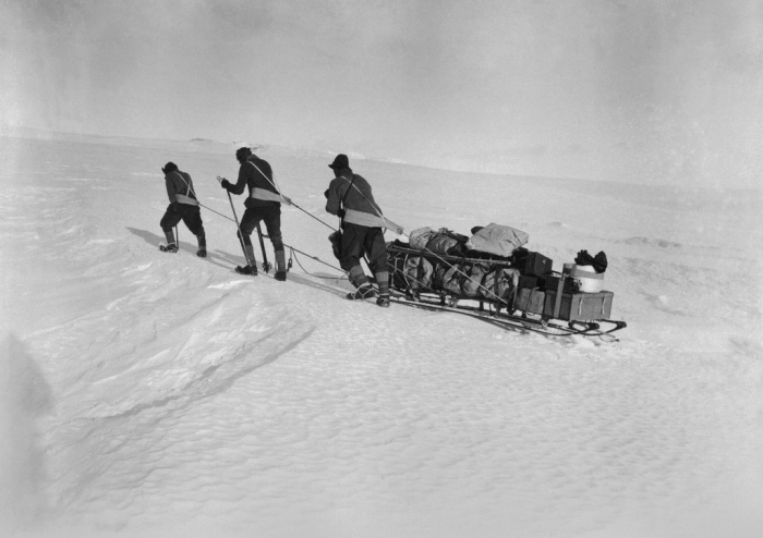 Unlike Amundsen, who used dogs exclusively, Scott's exploration and scientific teams usually man-hauled their heavily-laden sledges, often over great distances. Courtesy RBCM © Bettmann/CORBIS