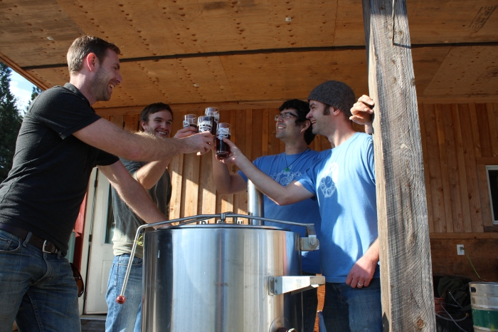 From left, Matt Cavers, Amos Harding, Monte Staats and Matt Thomson of the Gibsons Homebrewing Network are tireless in their pursuit of the perfect brew.