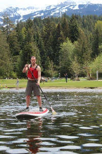 Pasty Englishman attempts balance feat on stand-up paddle board!