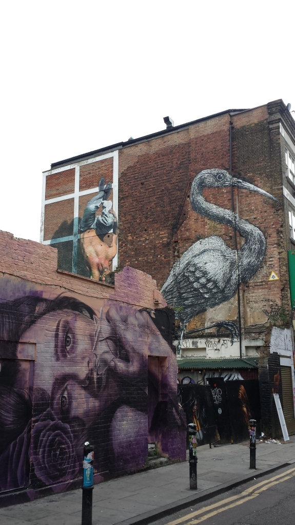 Street art pervades Brick Lane and adjoining streets like Hanbury Street, where the giant crane by Belgian artist ROA is hard to miss. Community uproar dissuaded Tower Hamlets council from covering it with a banner before the 2012 Olympics.