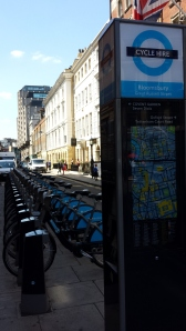 A fleet of 'Boris Bikes'. In London, there's usually one just around the corner.