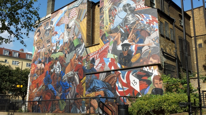A pivotal day in London's political history is vividly depicted in the Battle of Cable Street mural.