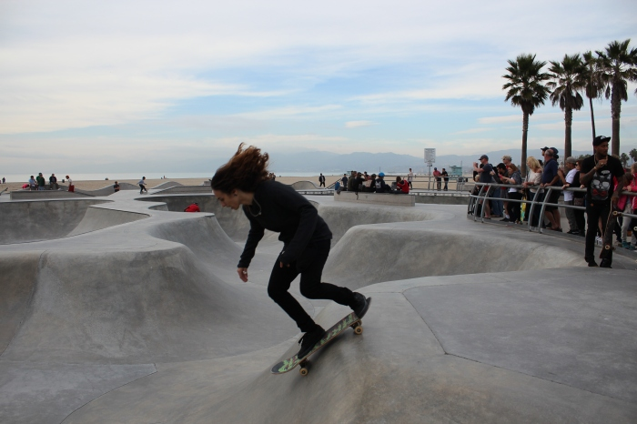 Big hair at the skate park in Venice Beach.