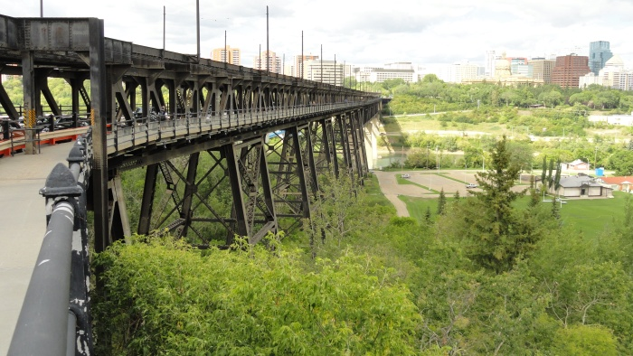 Edmonton's High Level Bridge offers a great perspective of the city.