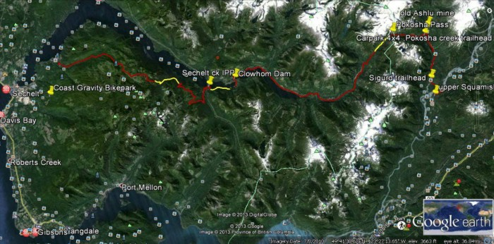 Yellow sections on this Google Earth map indicate about 10 kilometres of work needed to complete a trail connecting Sechelt with Squamish.