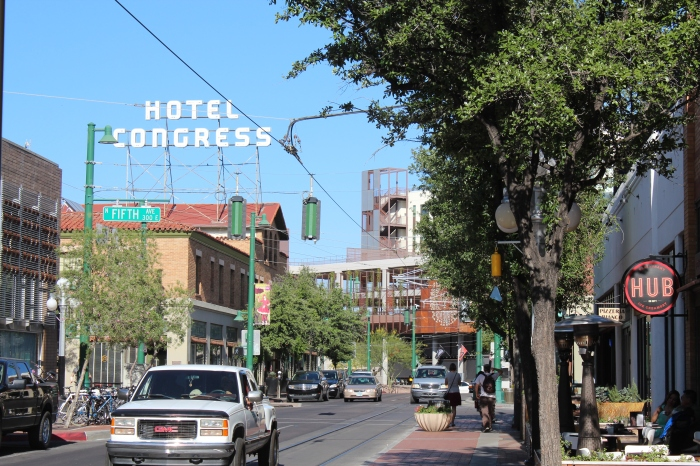 Hotel Congress, built in 1919, and now a thriving music venue, as well as housing a restaurant and bar.